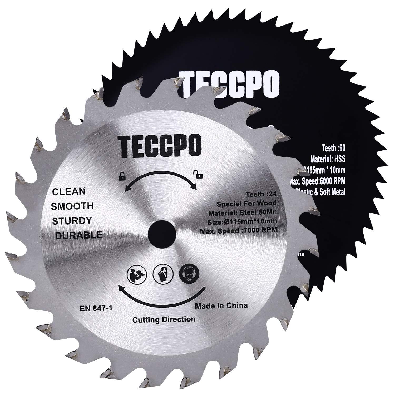 2 Professional Circular Saw Blades TECCPO 115mm x 10mm, 1 x TCT 24 Teeth Saw Blades for Wood, 1 x HSS 44 Teeth Saw Blades for Plastic & Soft Metal - TACB29A