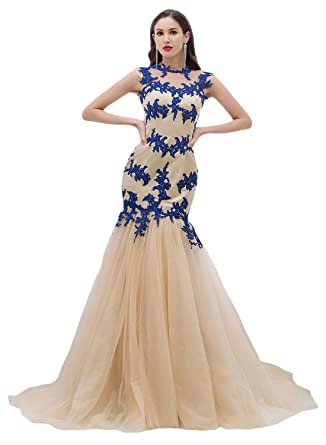Amazon.com: Sunvary Champagne and Blue Mermaid Lace Wedding ...