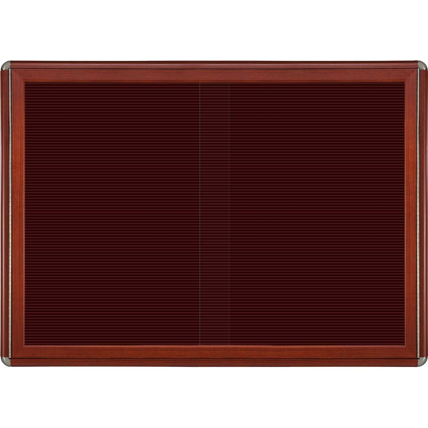 Ovation 2 Sliding Door Wood Look Felt Wall Mounted Letter Board, 3' H x 4' W Surface Color: Burgundy, Color: Chrome, Frame Finish: Cherry