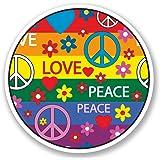 2 x 10cm Peace Love Vinyl Sticker Decal Symbol Hippy Camper VW Flower 70's #5353