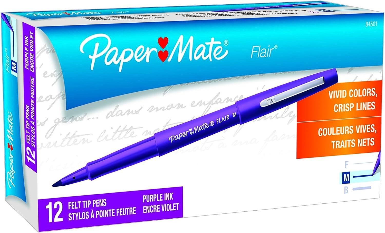 Papermate Flair Felt Tip Pens Purple Ink Medium Point Vivid Color 4 Pack 20/% off