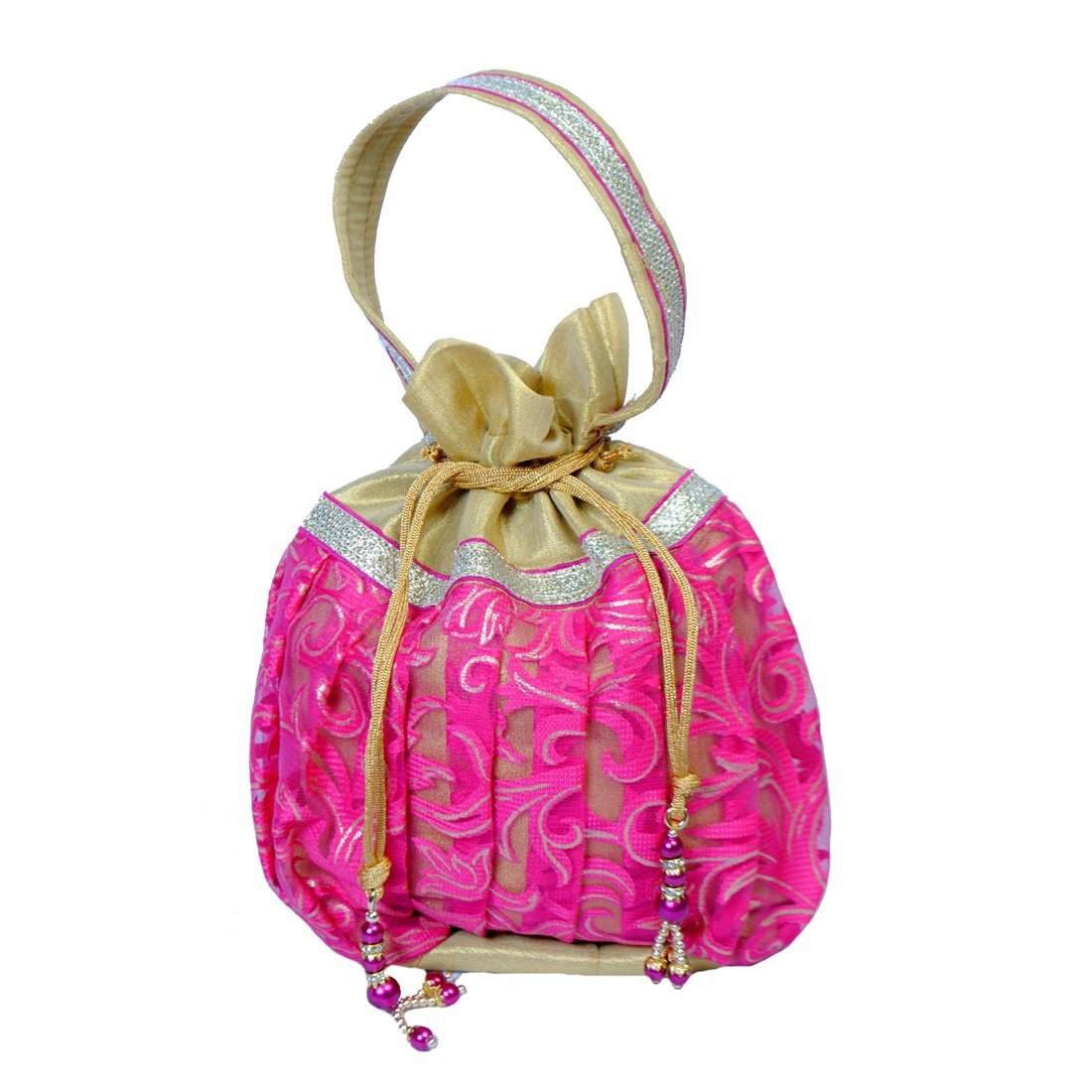 Maitri Creations Women Traditional Silk Brocade Purse Potli Bag Drawstring Jewelry Pouch Bag Cotton Gift Bag Value Set Wristlet Beaded Handbag Wedding Evening Party Designer Bridal Clutch Pink