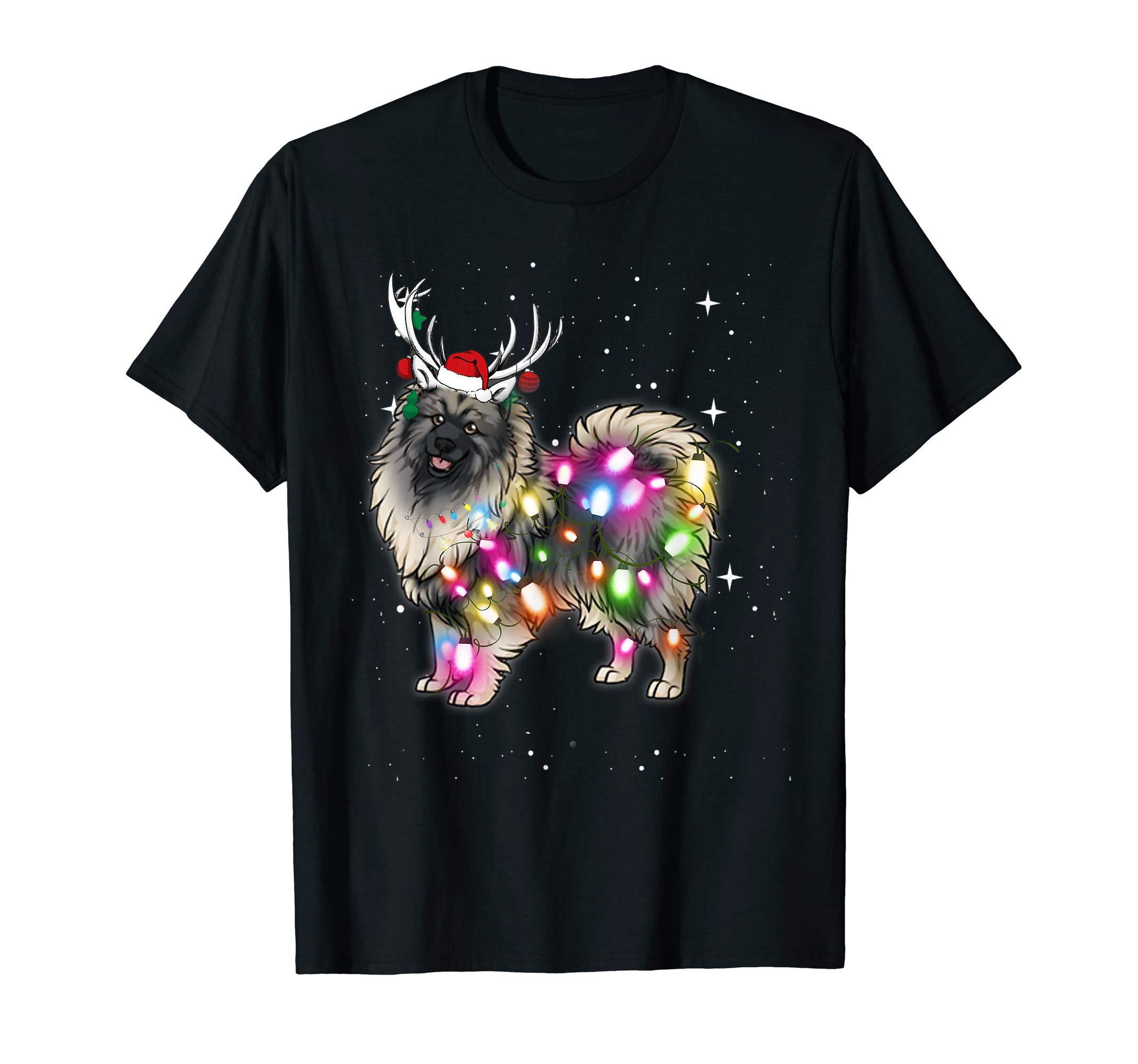 Christmas Lights Keeshond Dog T-Shirt 1