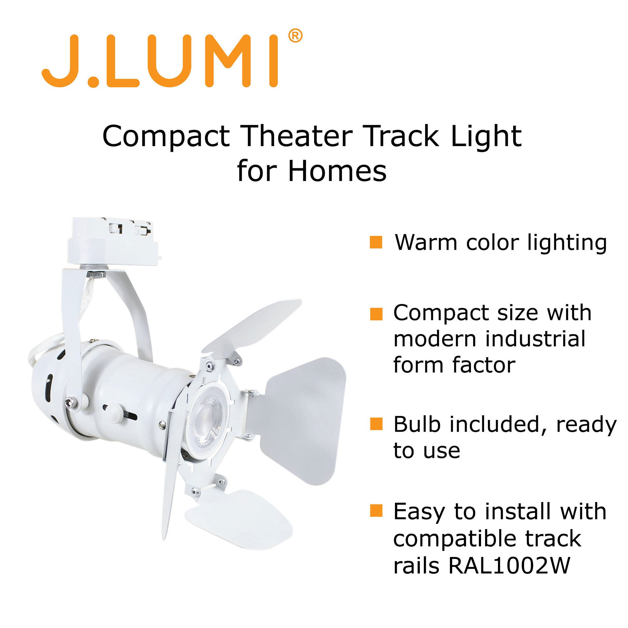 J.LUMI TRK9600W LED Track Light Fixture, Includes LED 5W Bulb | Vintage Mini Spotlight | Adjustable Tilt Angle, White Paint Finish | Compatible Rail RAL1002W (not Included) by J.LUMI (Image #2)