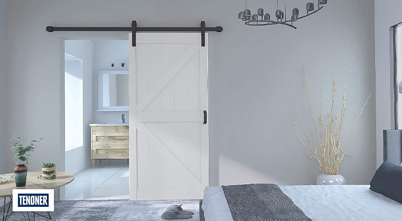 TENONER Sliding Barn Door,42 x 84 inches,White,K-Frame Hardware not Included,Unfinished,DIY Barn Door. Easy to Assemble Sliding Barn Door
