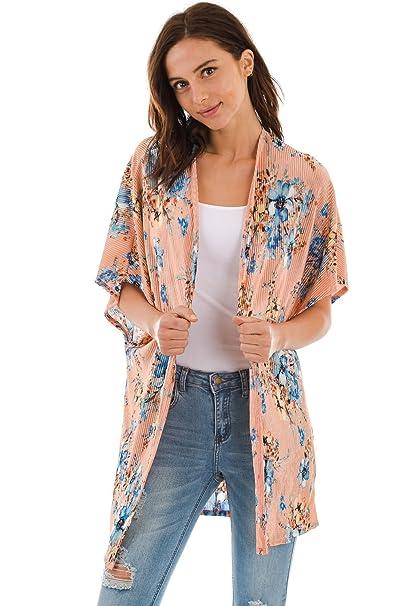 7c077f0bf2 Frumos T4141CR Womens Open Front Short Sleeve Printed Cardigan Blush Blue  Large