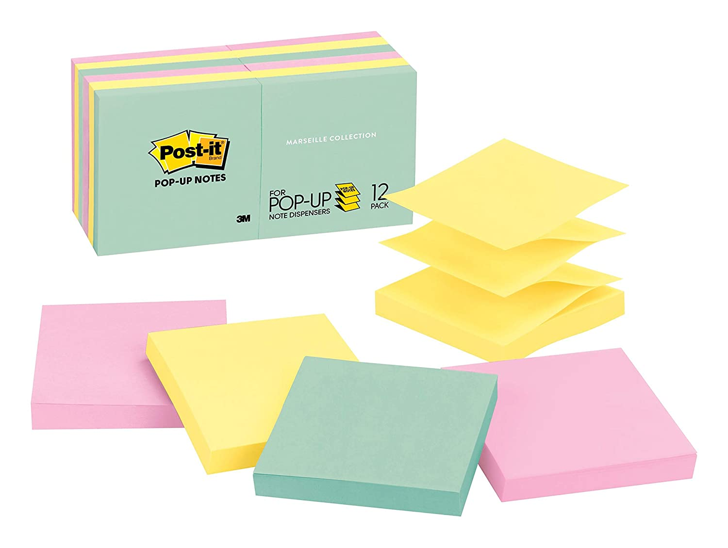 Post-it Pop-up Notes, Green, Pink, Canary Yellow, Blues, Designed for Pop-up Note Dispensers, Great for Reminders, 3 in. x 3 in, 12 Pads/Pack, 100 Sheets/Pad (R330-12AP)