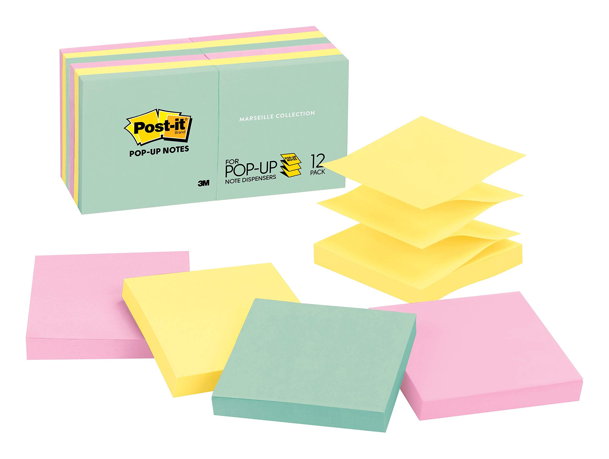 Post-it Pop-up Notes, Green, Pink, Canary Yellow, Blues, Designed for Pop-up Note Dispensers, Great for Reminders, 3 in. x 3 in, 12 Pads/Pack, 100 Sheets/Pad (R330-12AP) by Post-it