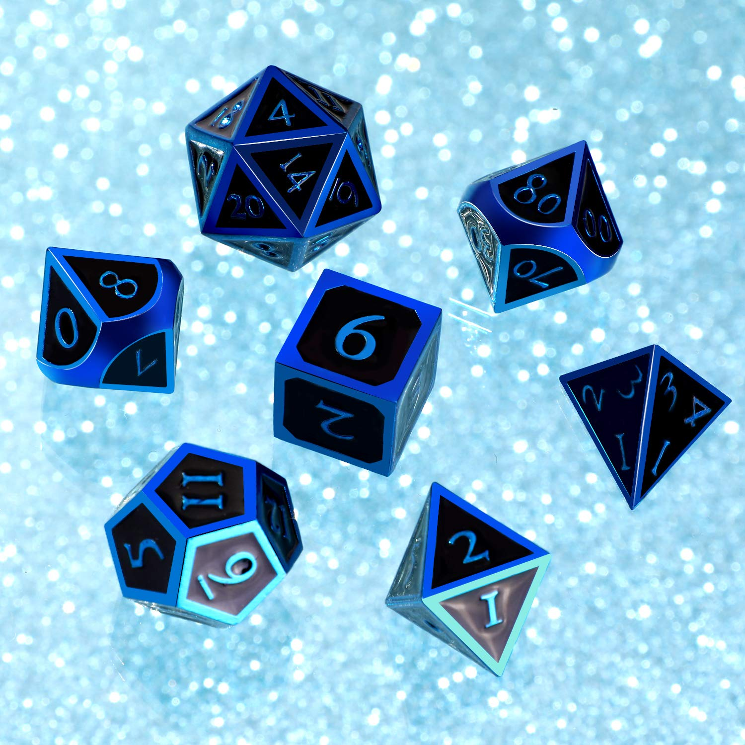 Hestya 7 Pieces Metal Dices Set DND Game Polyhedral Solid Metal D&D Dice Set with Storage Bag and Zinc Alloy with Enamel for Role Playing Game Dungeons and Dragons (Blue Edge Black) by Hestya (Image #6)