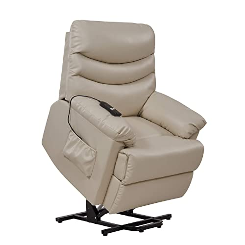 Domesis Olathe – Renu Leather Power Recline and Lift Chair, Cream