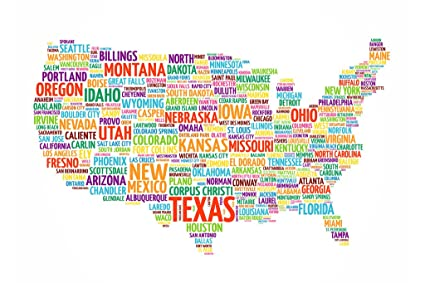 Amazon.com: United States USA Map States City Names Word ...