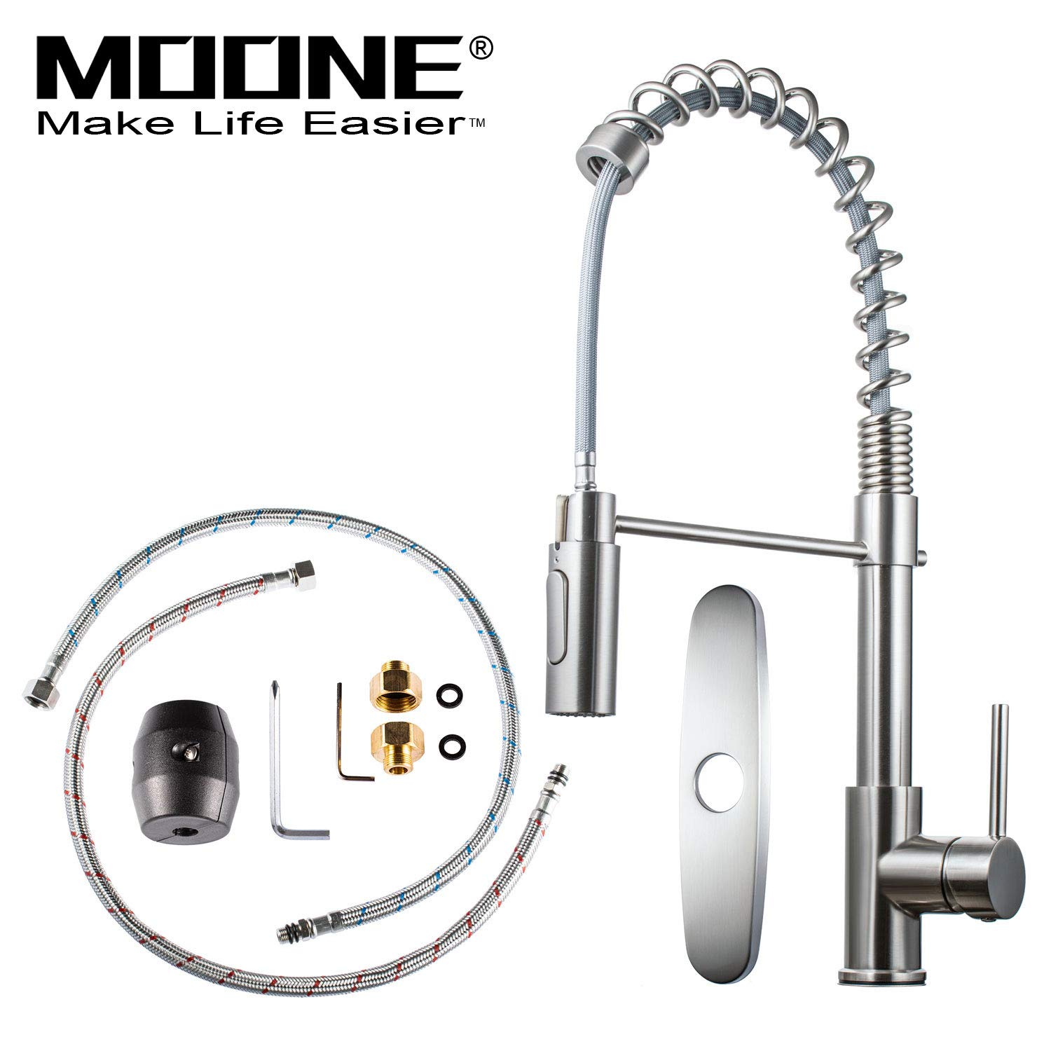 Moone Commercial Modern Single Handle Spring High Arc Brushed Nickel Kitchen Faucet, Pull Out Sprayer Kitchen Faucets Pull Down Spray Brass and Stainless Steel Kitchen Sink Faucet with Deck Plate by Moone (Image #2)