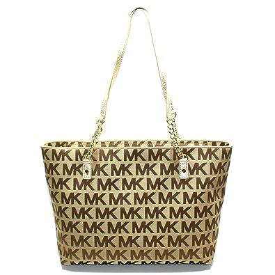 6b4569a5398303 Amazon.com: Michael Kors Jet Set Chain MK Signature Jacquard Tote/ Shoulder Bag  Gold #38T2XJST7J: Shoes
