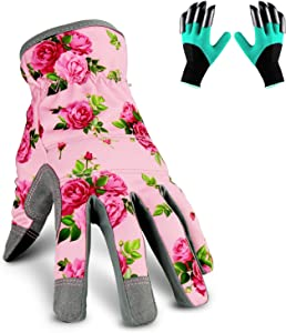 YARTTING Gardening Gloves for Women, Flexible Breathable Spandex, 2 Pairs Yard & Gardening Working Gloves Touch Screen, Best Garden Gifts & Tools for Gardener (S-Pink)