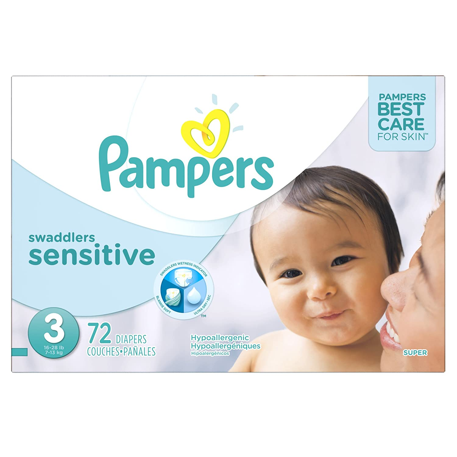 Pampers Swaddlers SENSITIVE Disposable Baby Diapers Size 3, Super Pack, 72 Count PG-5979