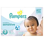 Pampers Swaddlers Sensitive Disposable Diapers Size 3, 72 Count, SUPER