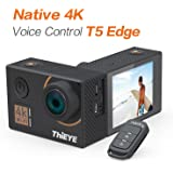 "ThiEYE T5 Edge 4K Action Camera Wifi Waterproof Sport Video Camera 14MP Ultra-HD 2"" IPS Screen with EIS, APP & Voice Control with Remote Control, 170 Wide Angle, Battery and Full Accessories"