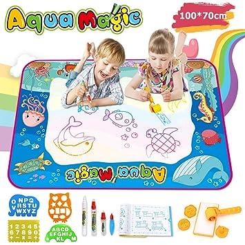 aae2f3821f Ounuo Wasser Doodle Matte Aqua Doodle 100*70cm Zaubertafel Malmatte Wasser,  mit 1 Malerroller