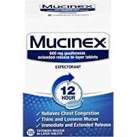 100-Count Mucinex Extended Relief Of Chest Congestion Tablets 600 Mg