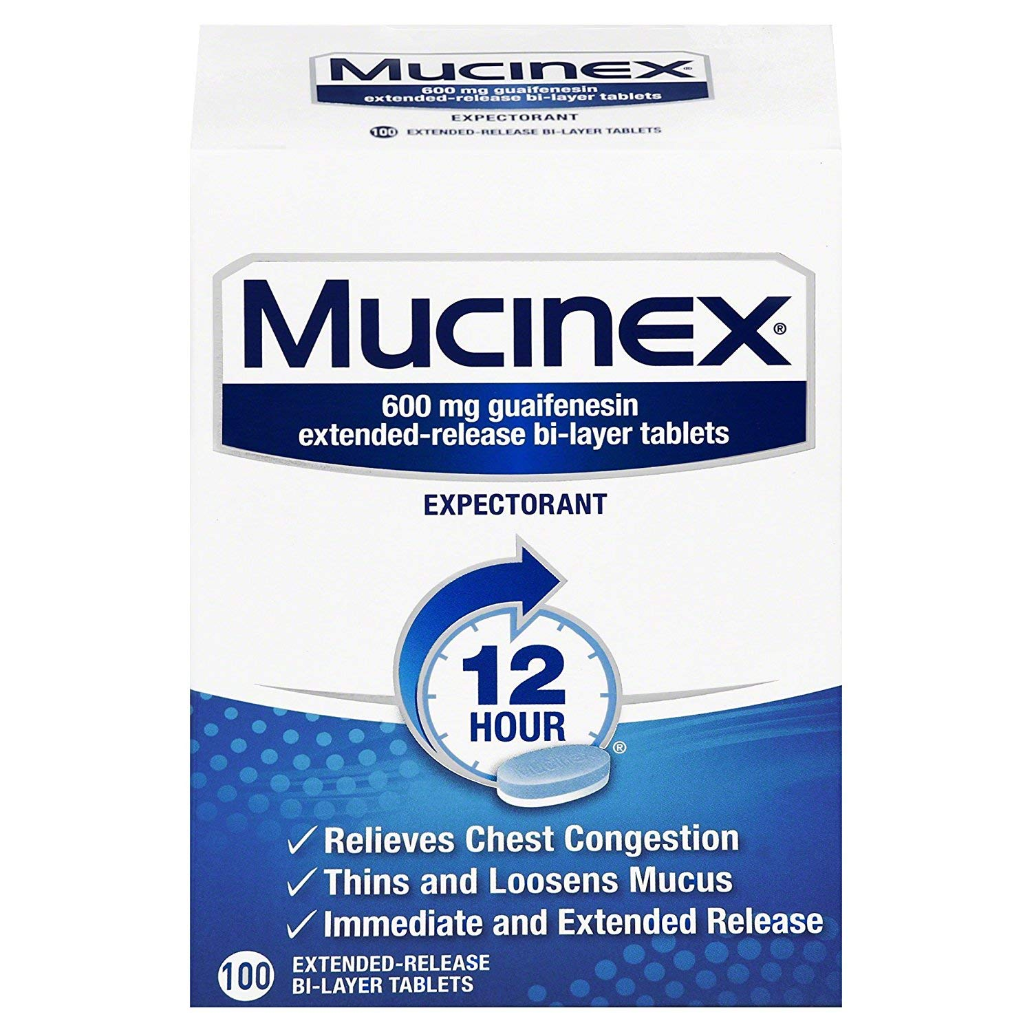Chest Congestion, Mucinex 12 Hour Extended Release Tablets, 600 mg Guaifenesin with extended relief of  chest congestion caused by excess mucus, thins and loosens mucus, 100 Count by Mucinex