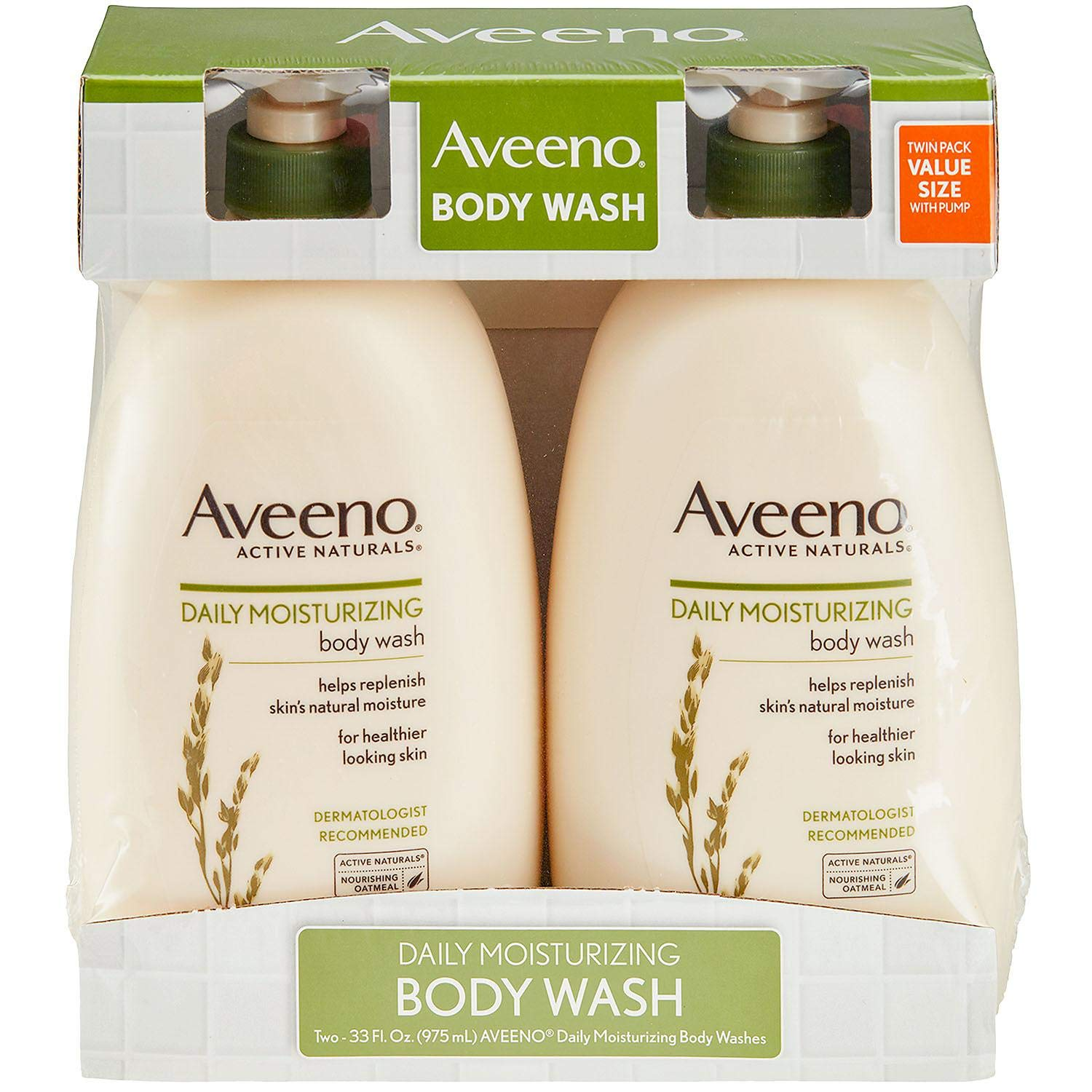 Aveeno Active Naturals Body Wash - Daily Moisturizing - Net Wt. 33 FL OZ (975 mL) Per Bottle - Pack of 2 Bottles by Aveeno