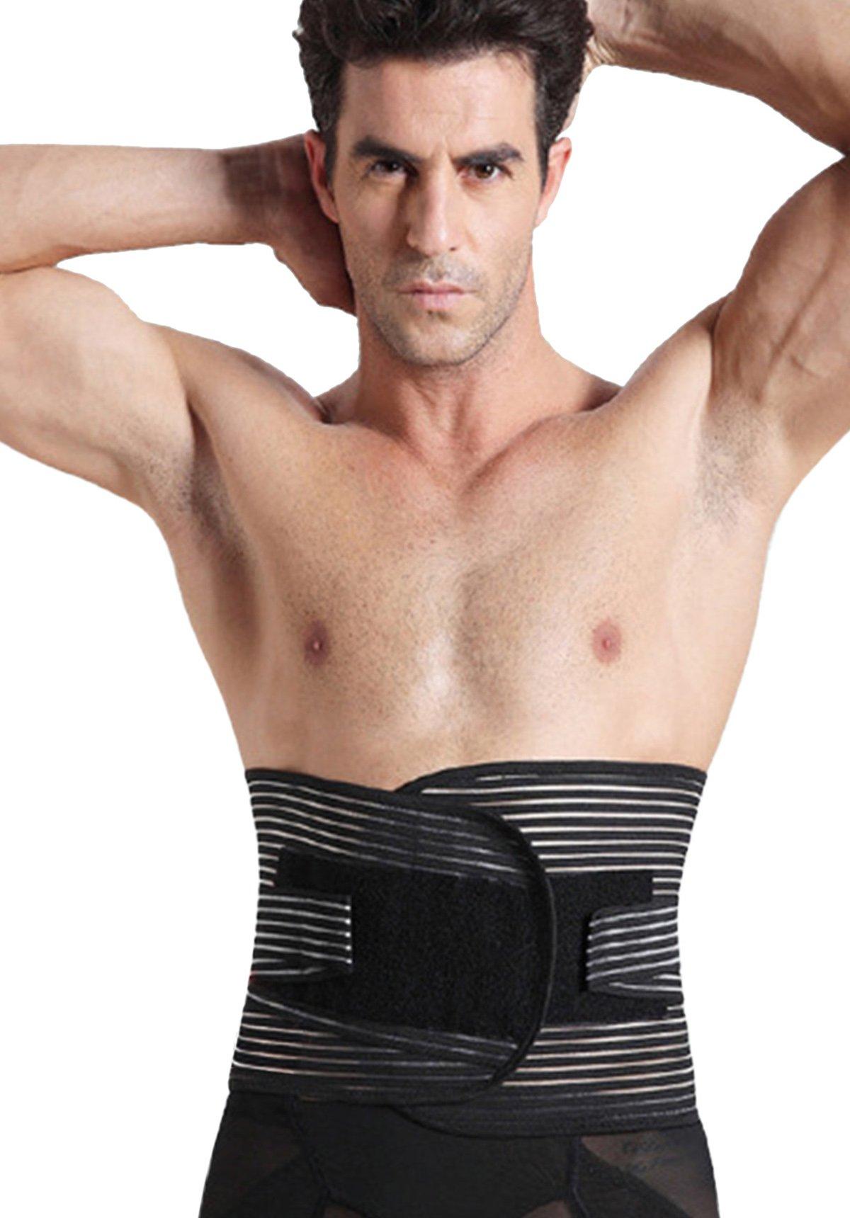 Panegy Men's Waist Trimmer Belt Elastic Lumbar Back Tranier Support Brace Band Body Shaper Size L Black