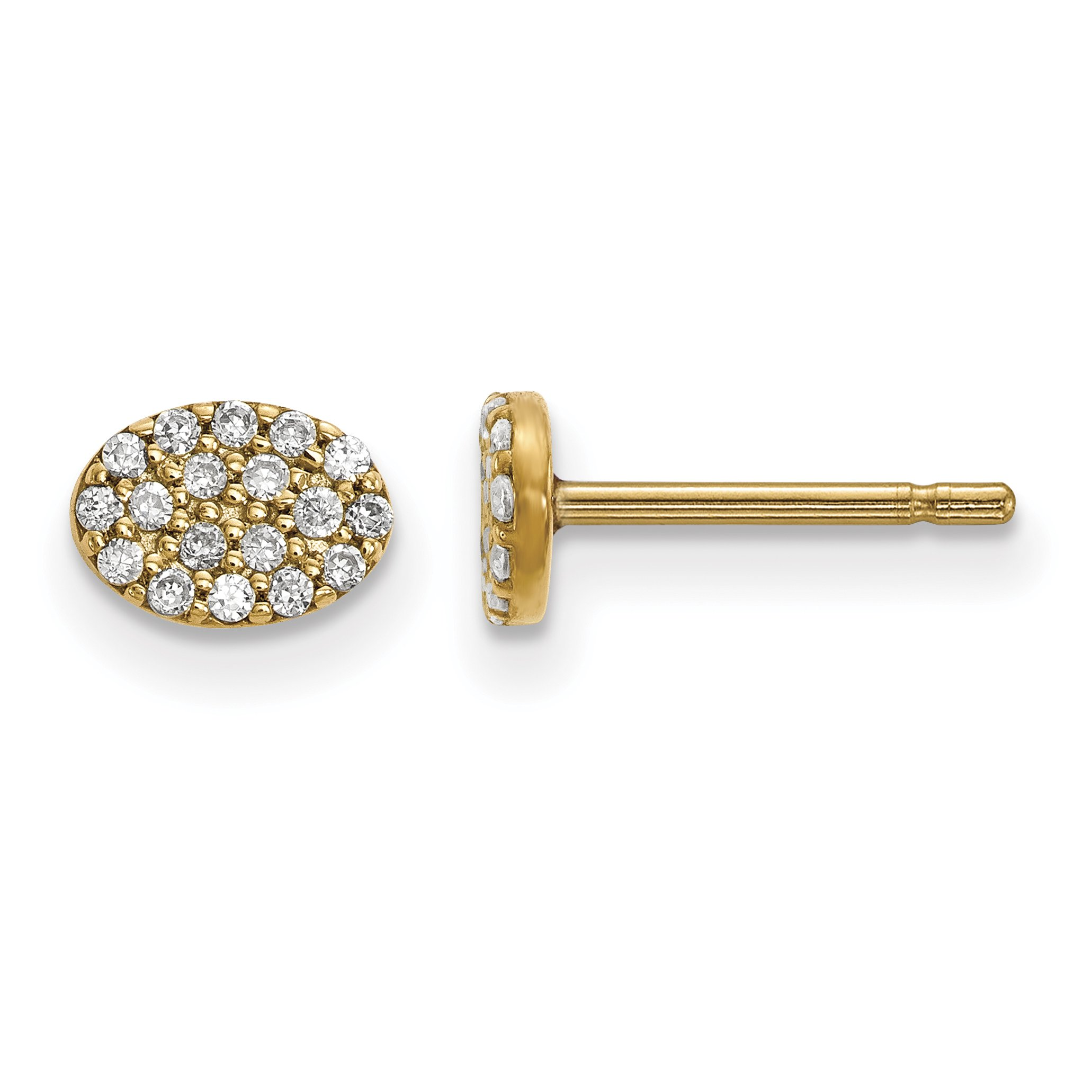 ICE CARATS 14k Yellow Gold Diamond Cluster Oval Post Stud Ball Button Earrings Fine Jewelry Gift Set For Women Heart