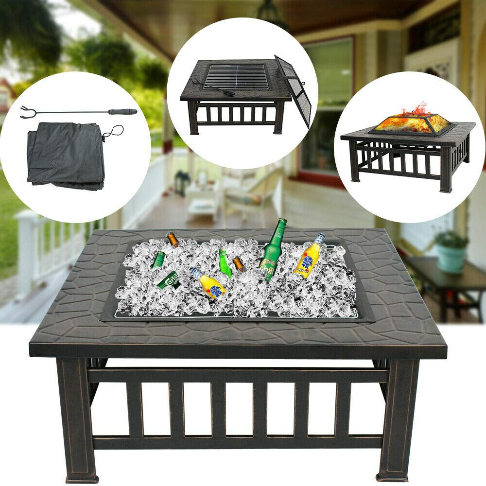 ZENY Outdoor 32'' Metal Fire Pit BBQ Square Table Backyard Patio Garden Stove Wood Burning Fireplace with Spark Screen,Poker,Cover,Grill by ZENY