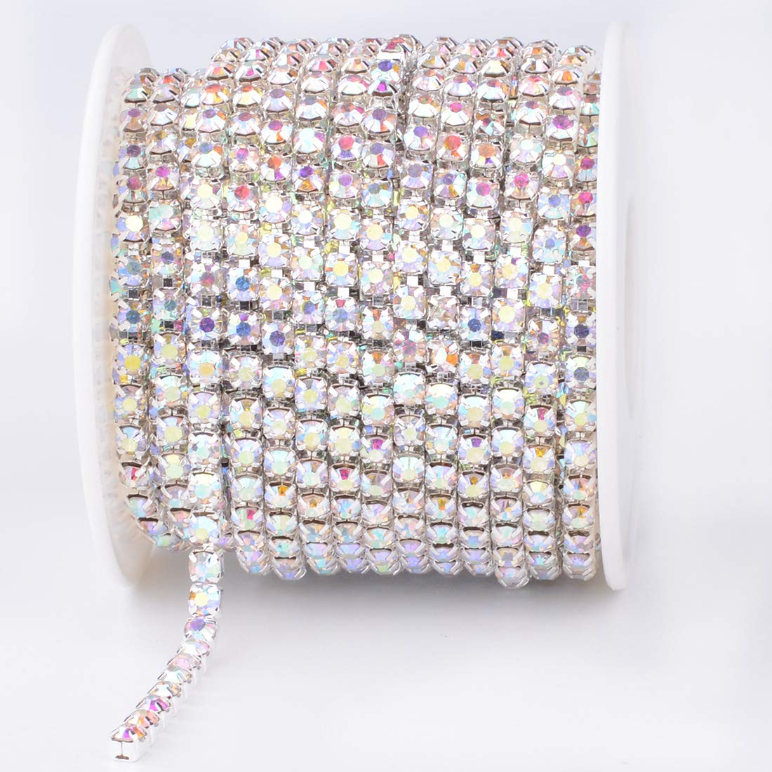 30 Feet 10 Yards Crystal Rhinestone Close Chain Sewing Craft Trimming Silver Claw Chain DIY Jewelry Crafts Wedding Party Decoration (Silver, SS12) Manshui ZLCL00005