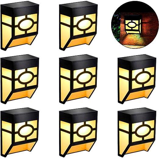 Lámpara de Pared Solar Jardín luz Solar Resistente al Agua Wireless seguridad Lámpara Solar Impermeables Focos Solares para Porche Jardín Garaje Camino Patio 8 Piezas: Amazon.es: Iluminación