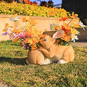 iRonrain Indoor Outdoor Statue, Garden Planter Pots Double Bunny Art Décor Figurine Ornament for Porch Patio Lawn Yard