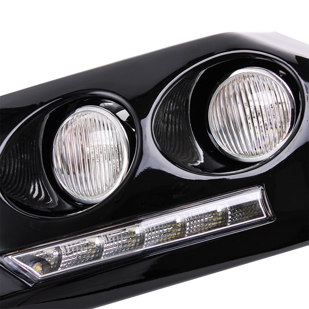 MOTORFANSCLUB Daytime Running Light LED DRL Black Bumper Driving Fog Lights for 2007-2011