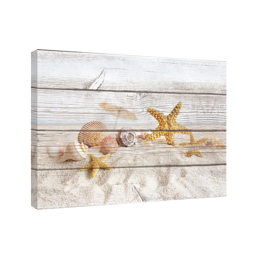 SUMGAR Canvas Wall Art for Living Room Starfish on Beach Decor Holidays Framed Paintings for Bedroom,16x24
