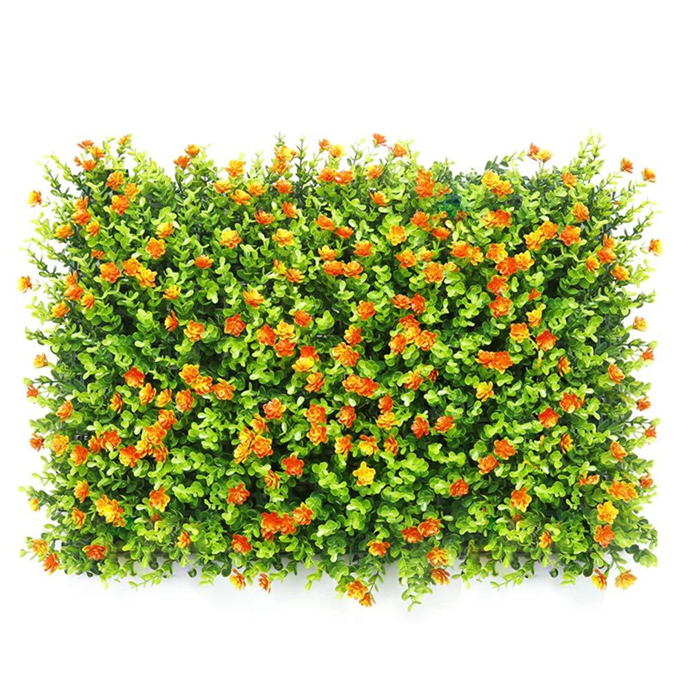 Ssowun Pared de c/ésped Artificial Planta con Flores follaje Hermoso Decorativo Plantas de Pared (60 40cm)
