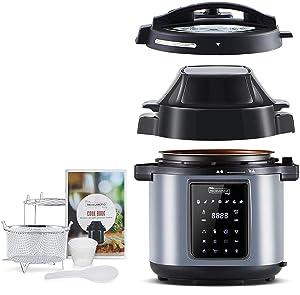 MICHELANGELO Pressure Cooker Air Fryer Combo 6 Quart, All-in-1 Pressure Cooker with Air Fryer - Two Detachable Lids for Pressure Cooker, Pressure Fryer, Air Fryer, Saute Cooker, 6 Qt