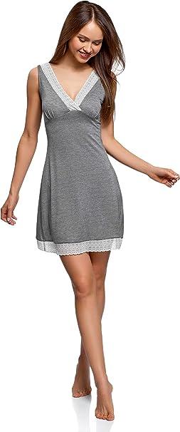 oodji Ultra Mujer Camisón con Escote en V, Negro, ES 44 / XL ...