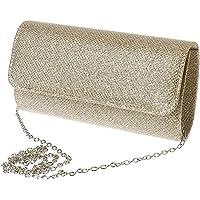 Dabixx Bolso de Hombro para Mujer, para Novia, Fiesta, Graduación, Boda, Bolso de Mano, Champán, 20×11×5cm/7.87×4.33×1…