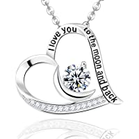 Fine Jewelry Gift for Women Birthday April Birthstone Necklace ❤️ I Love You to The Moon and Back ❤️ Pendant Necklace Sterling Silver Simulated Diamond Jewelry for Mom Wife