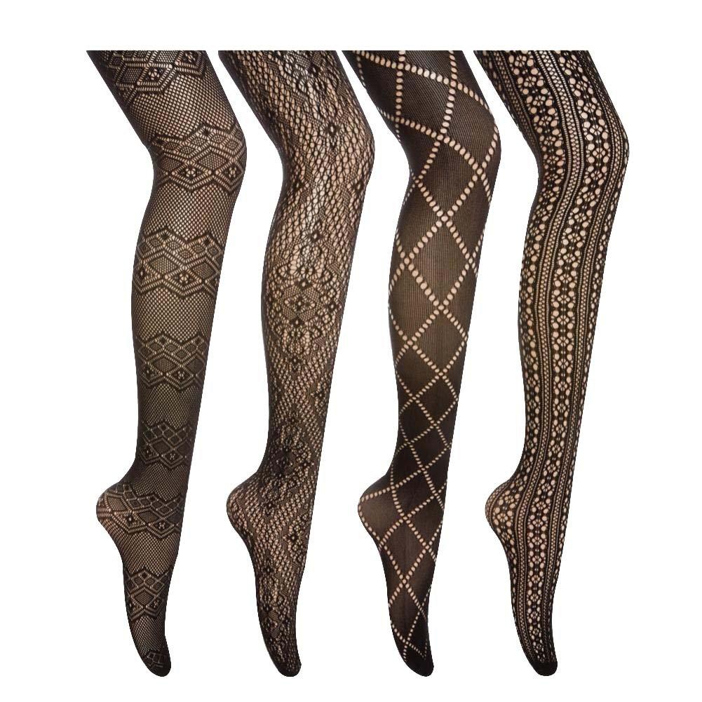 Women 4 Pairs Patterned Fishnet Tights/Black Pantyhose