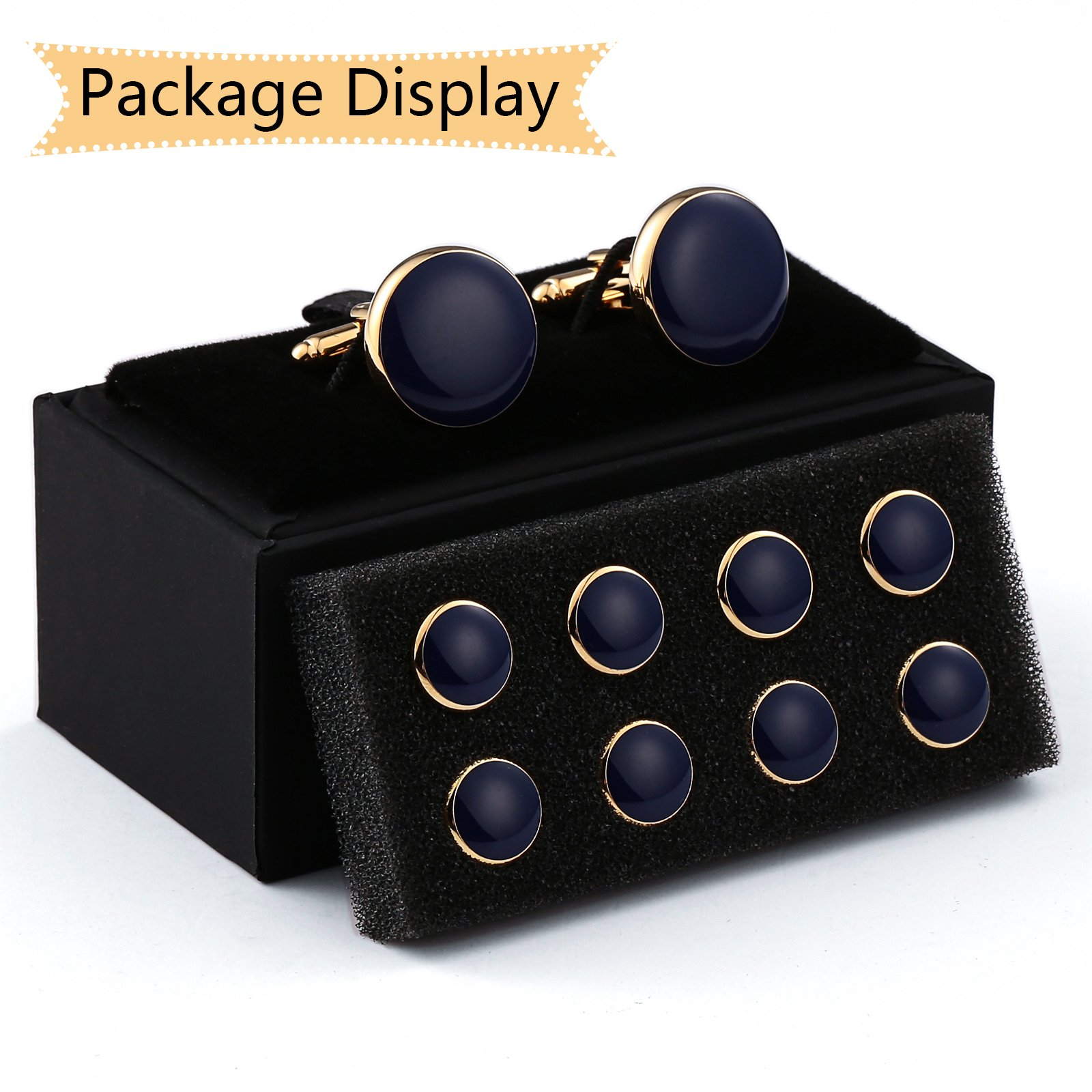 Aienid Mens Cufflinks and Studs for Men, Father of The Bride Cufflinks Set Tuxedo Shirts Bowtie Black by Aienid (Image #6)