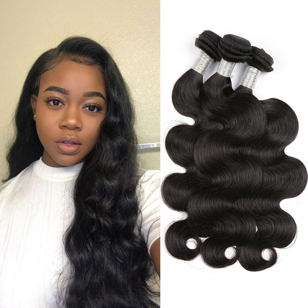 MDL 8A Brazilian Hair 12 14 16 3 Bundles Body Wave 100% Unprocessed Virgin Brazilian Wet And Wavy Remy Human Hair Weave Natural Black Color Total 300G For Women