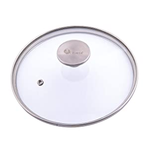 Victoria Glass Lid for 6.5 Inch Cast Iron Skillet, Frying Pan Lid with Stainless Steel Air Flow Knob