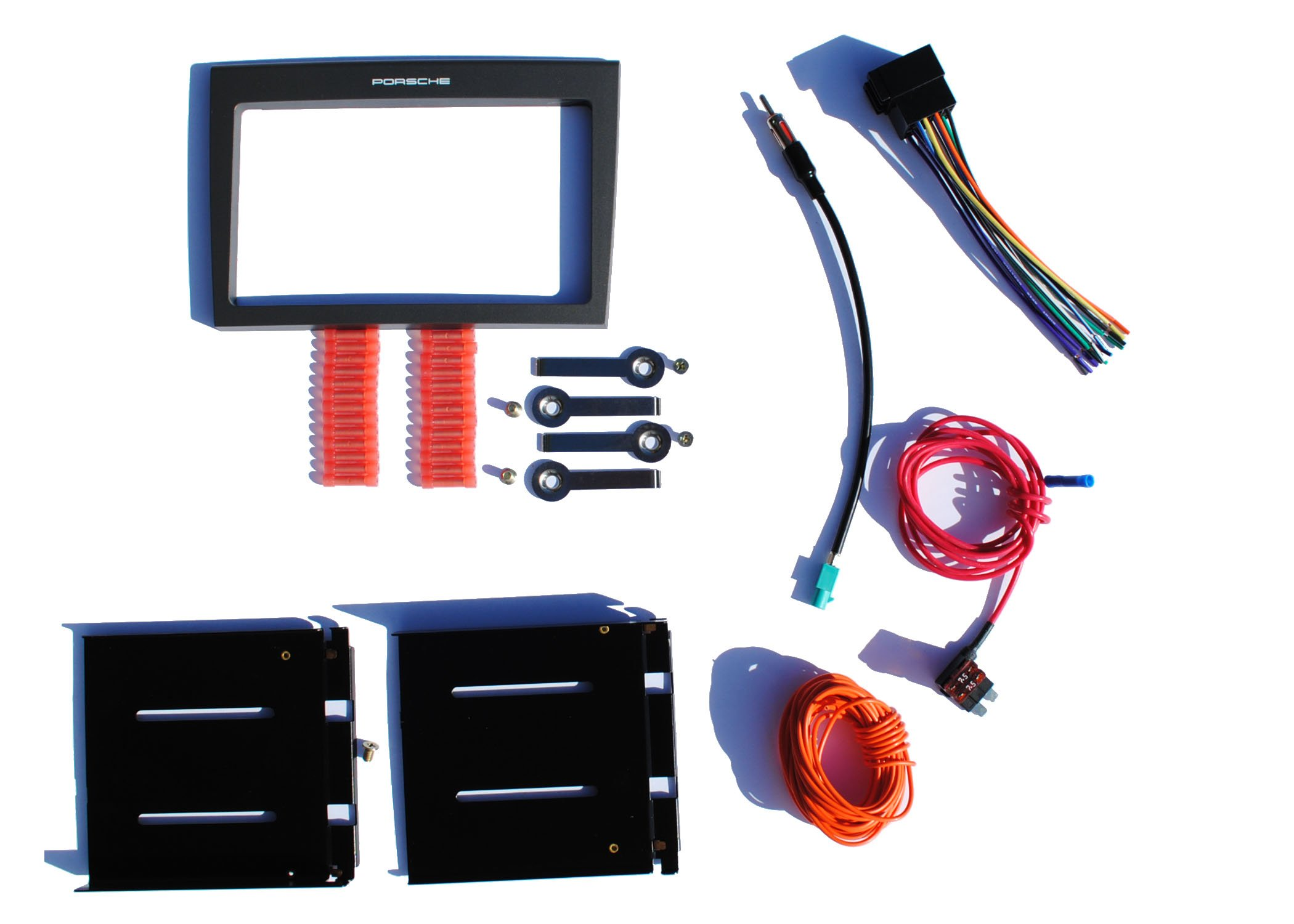 Aftermarket Double Din Radio Stereo Installation Dash Kit Fitted For 2005-2008 Porsche Select 997/987 Models w/ Standard Audio System / Sound Package