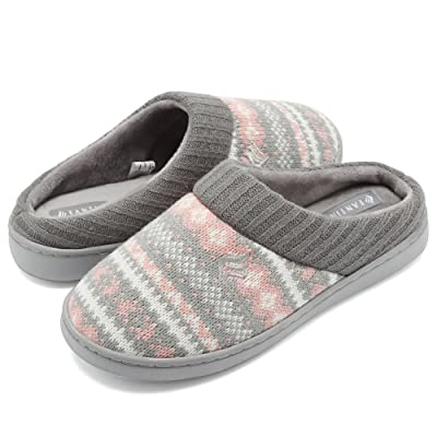 Amazon.com   CIOR Fantiny Women's Memory Foam House Slippers Sweater Knit Embroidered Pattern and Ribbed Hand-Knit Collar   Slippers