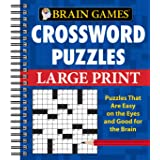 Brain Games - Crossword Puzzles - Large Print (Blue)
