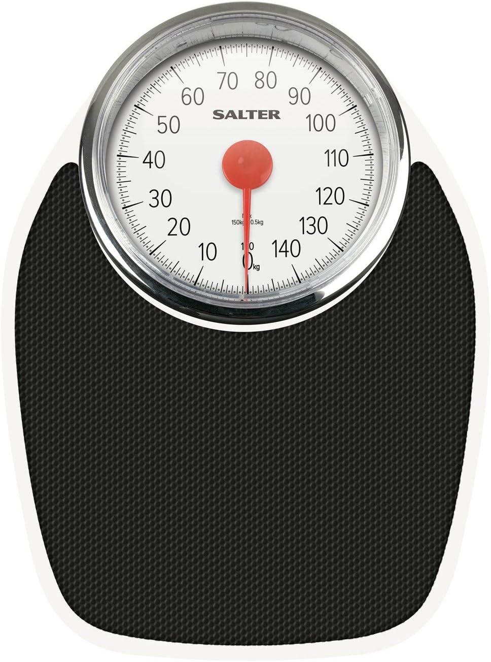 Salter Doctor's Style Báscula Mecánica de Baño – Balanza Clásica Retro Blanca y Negra, Visor Analógico Fácil de Leer, Plataforma de Metal Resistente, Pesa Hasta 150 Kg, Sin botones ni Pilas