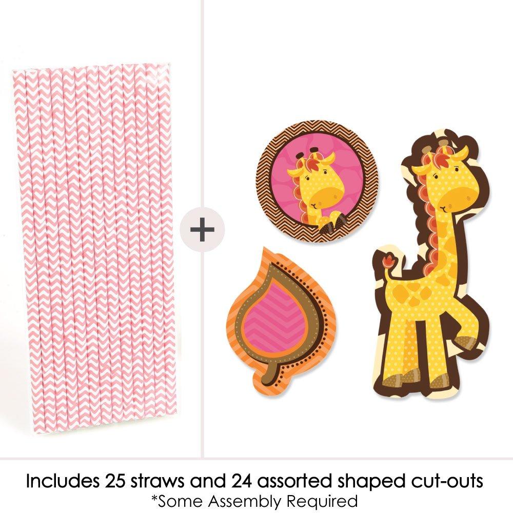 Set of 24 Giraffe Girl Paper Straw Decor Baby Shower or Birthday Party Striped Decorative Straws