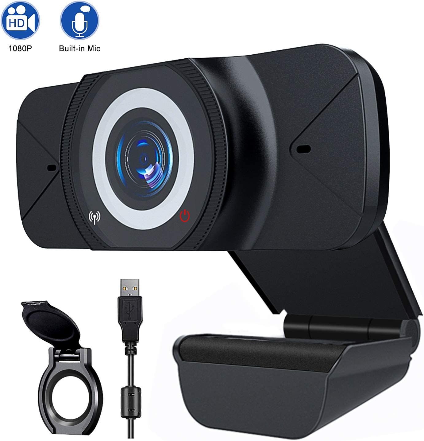 Webcam with Microphone Full HD 1080P USB Web Camera for Laptop PC, Multi-Compatible for Video Conferencing, Recording Streaming