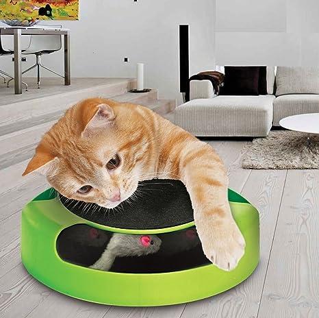 Prime Paws Juguete Interactivo Meow para Gato o Gatito para atrapar el ratón, tapete Mullido