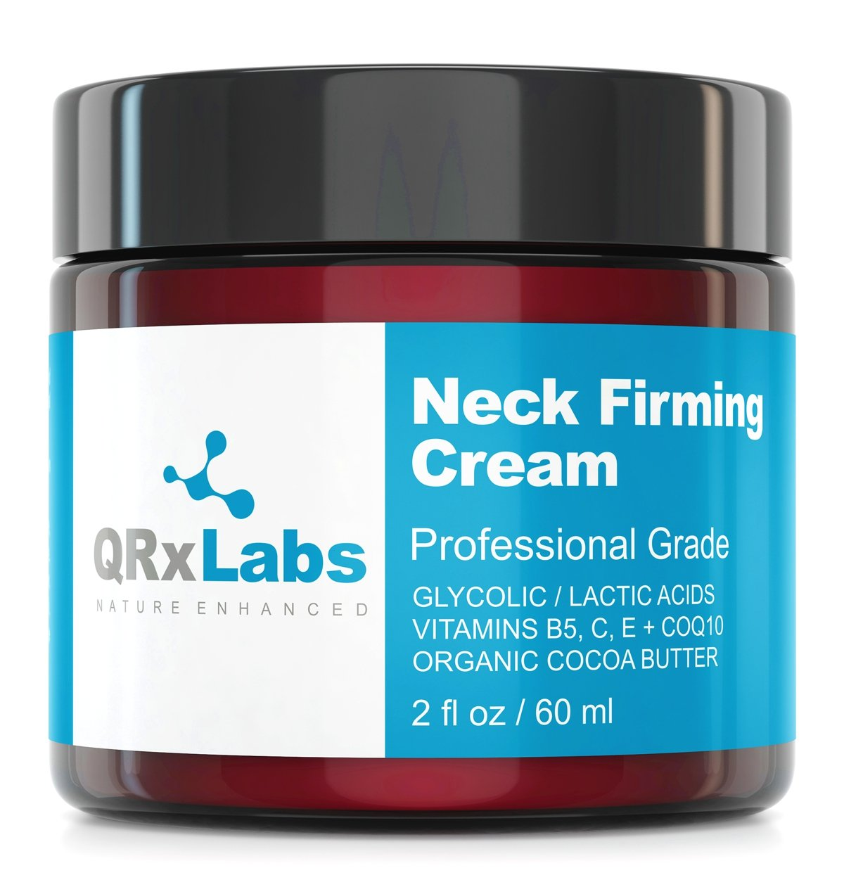 Neck Firming Cream - Tightening & Lifting Moisturizer for Loose, Wrinkled or Sagging Skin on Neck, Decollete & Chest - Best to Prevent Turkey/Crepe Neck - 2 fl oz by QRxLabs